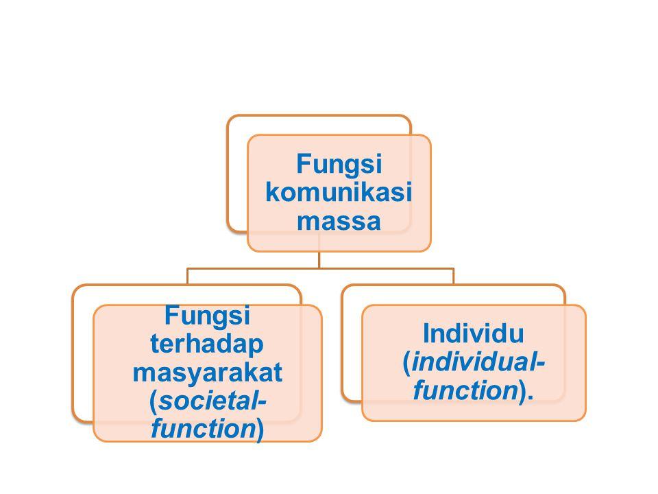 Fungsi komunikasi massa Fungsi terhadap masyarakat (societal-function)