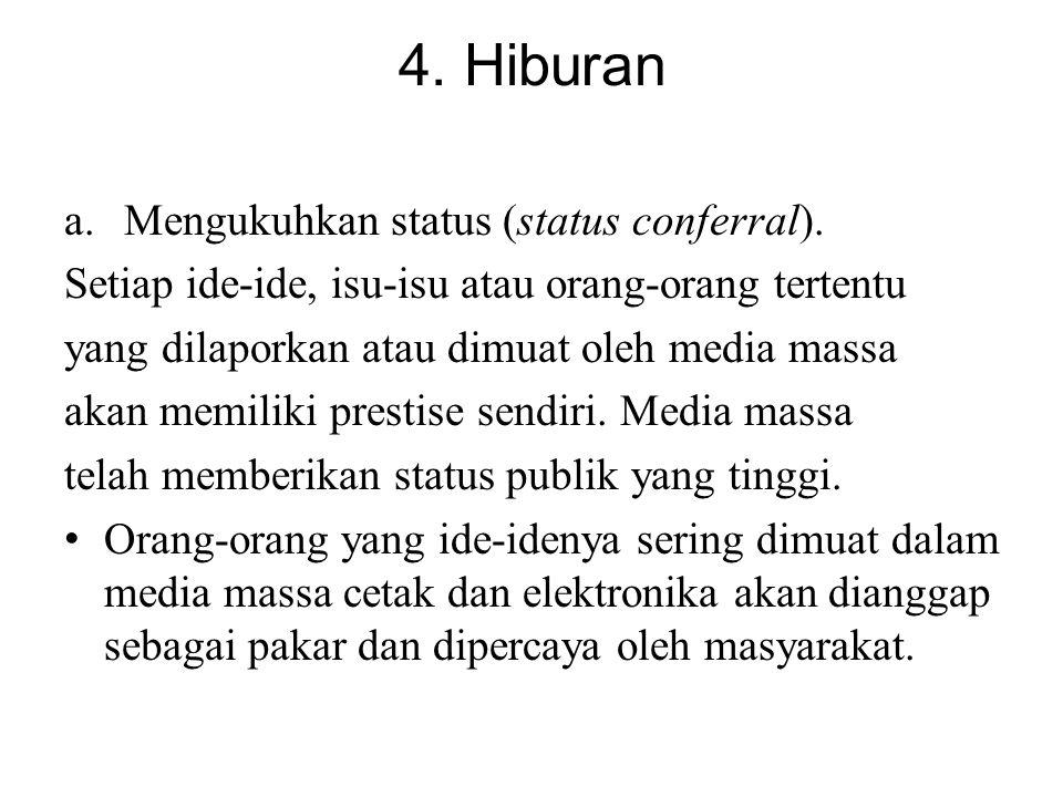4. Hiburan Mengukuhkan status (status conferral).