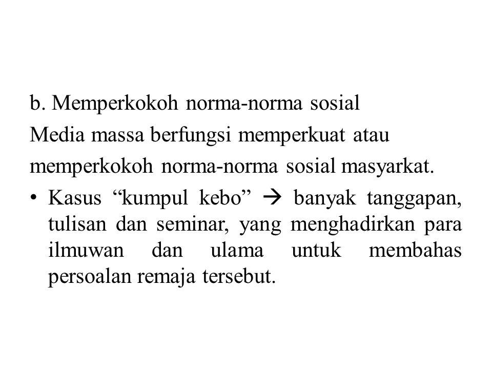 b. Memperkokoh norma-norma sosial