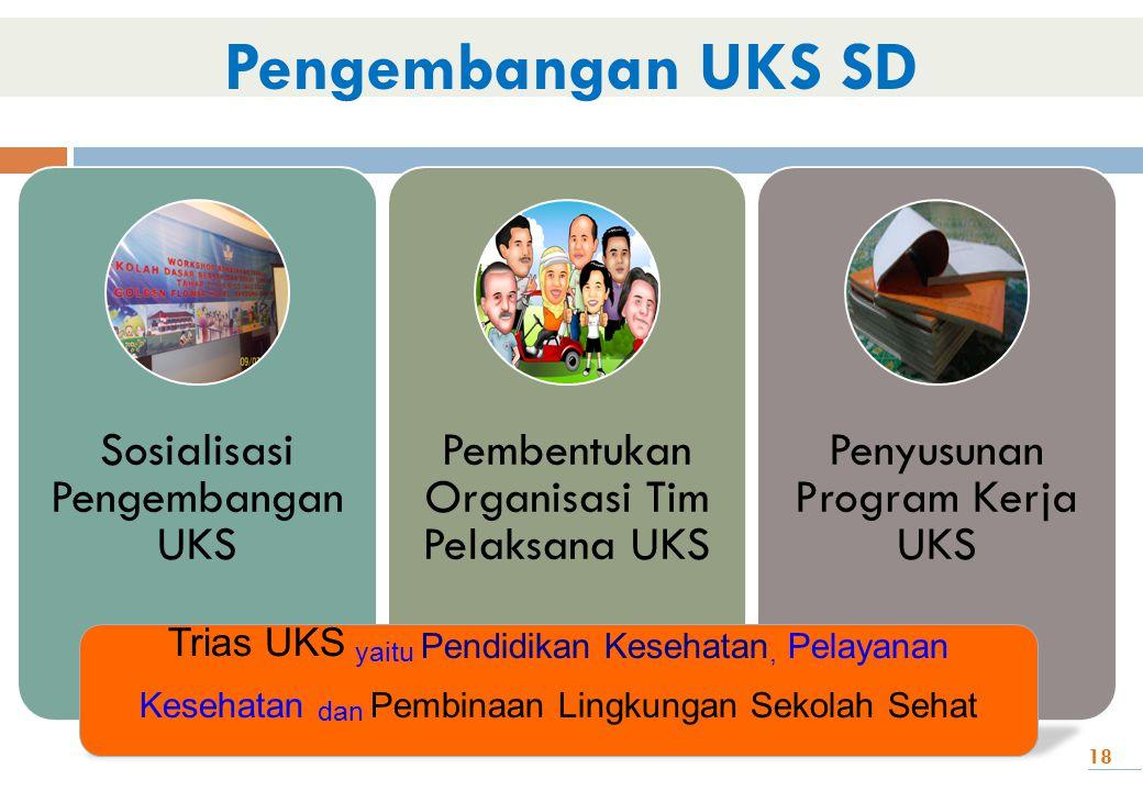Pengembangan UKS SD Sosialisasi Pengembangan UKS. Pembentukan Organisasi Tim Pelaksana UKS. Penyusunan Program Kerja UKS.