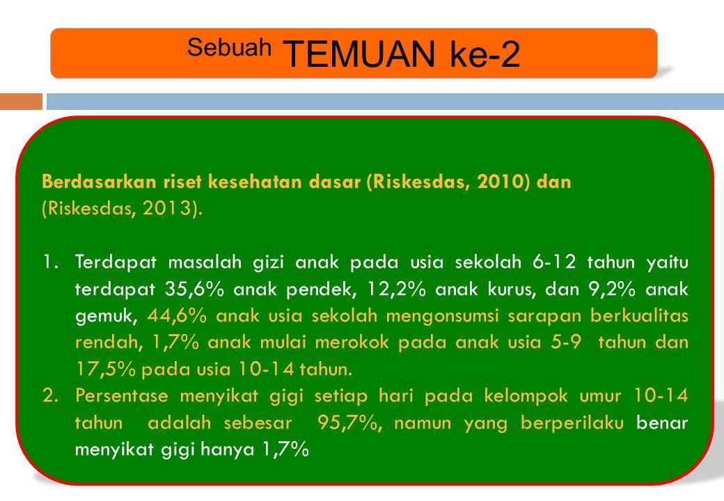 Sebuah TEMUAN ke-2 Berdasarkan riset kesehatan dasar (Riskesdas, 2010) dan. (Riskesdas, 2013).