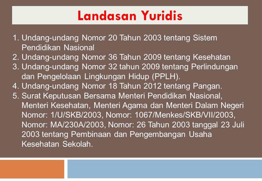 Landasan Yuridis Undang-undang Nomor 20 Tahun 2003 tentang Sistem Pendidikan Nasional. Undang-undang Nomor 36 Tahun 2009 tentang Kesehatan.