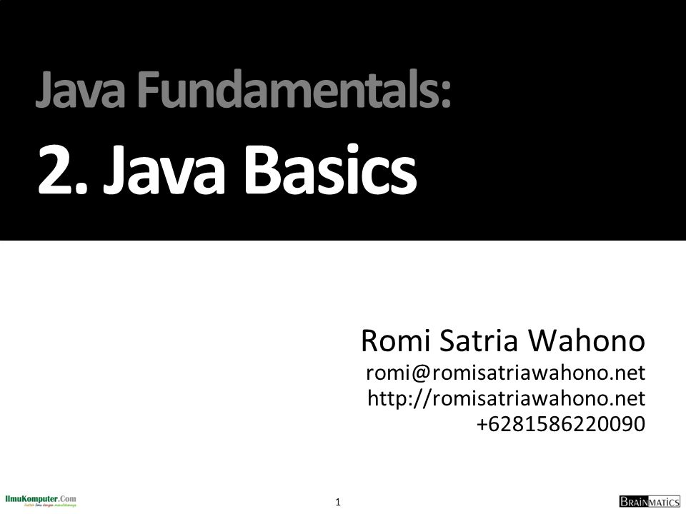Java Fundamentals: 2. Java Basics