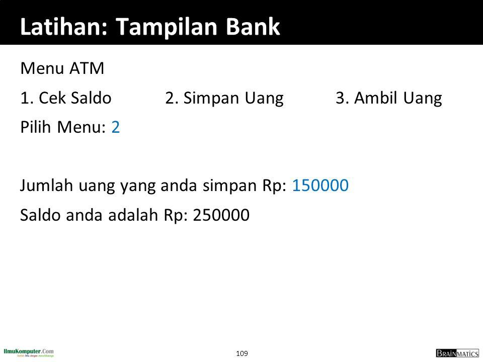Latihan: Tampilan Bank
