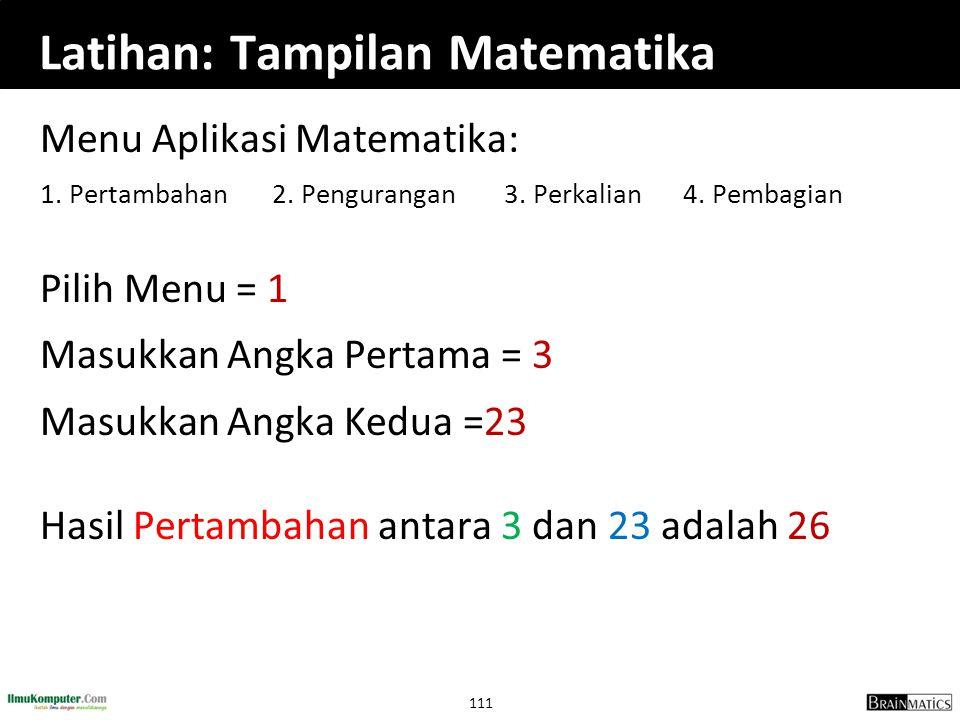 Latihan: Tampilan Matematika