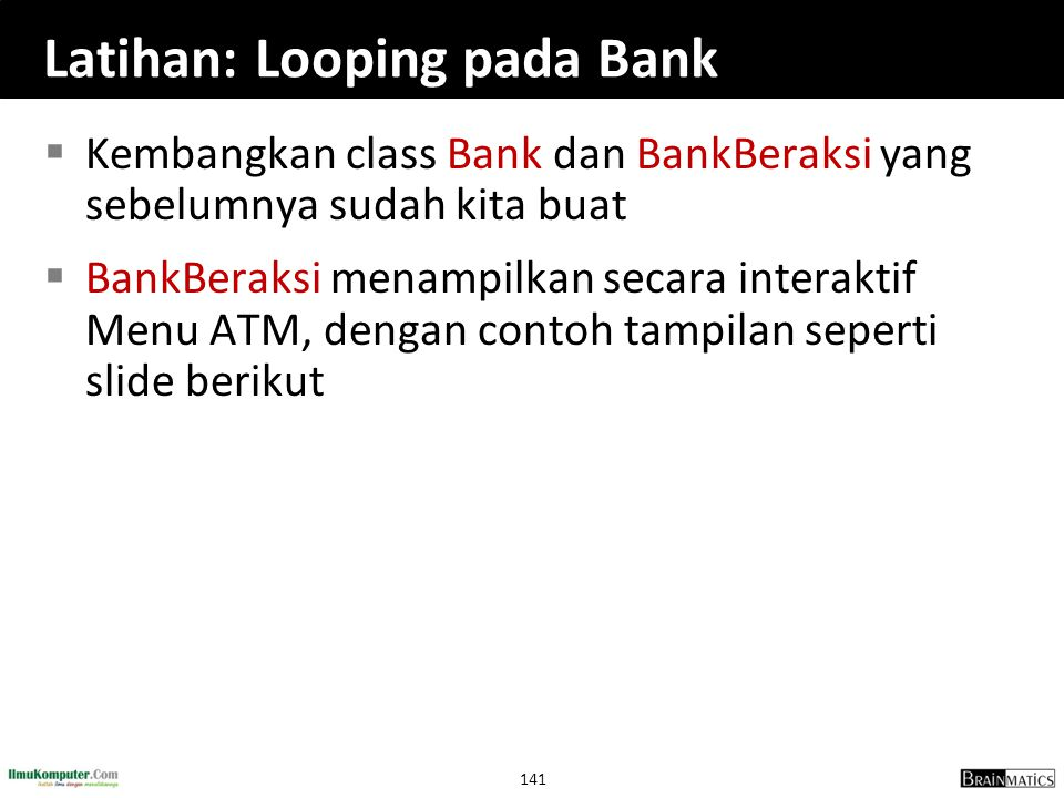 Latihan: Looping pada Bank