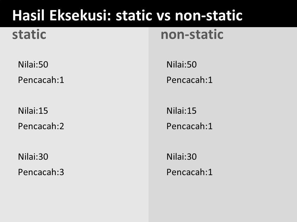 Hasil Eksekusi: static vs non-static static non-static