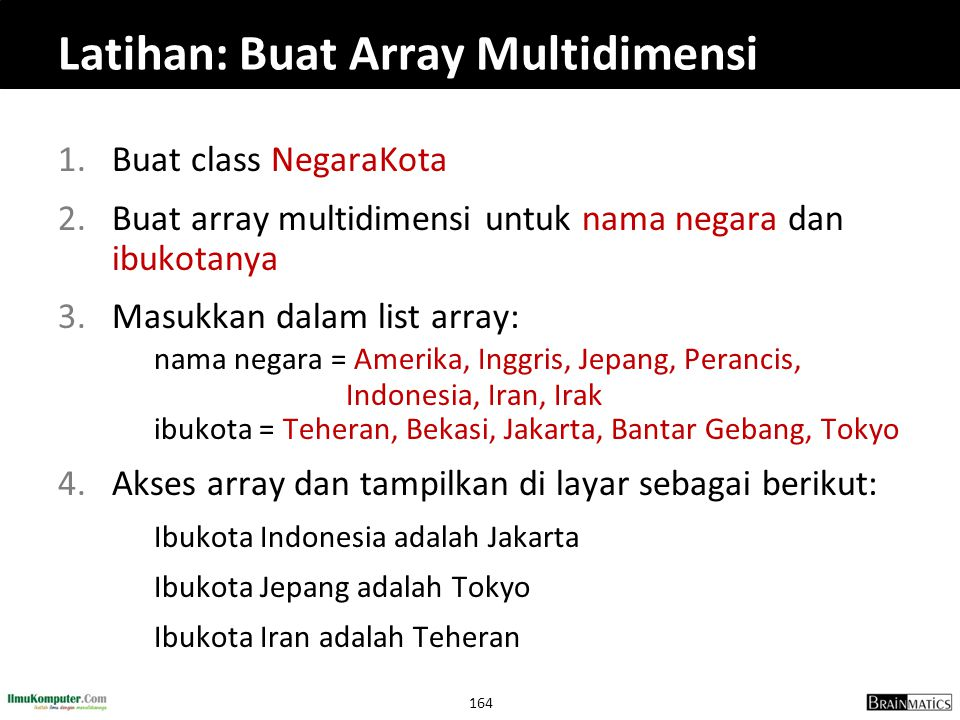 Latihan: Buat Array Multidimensi