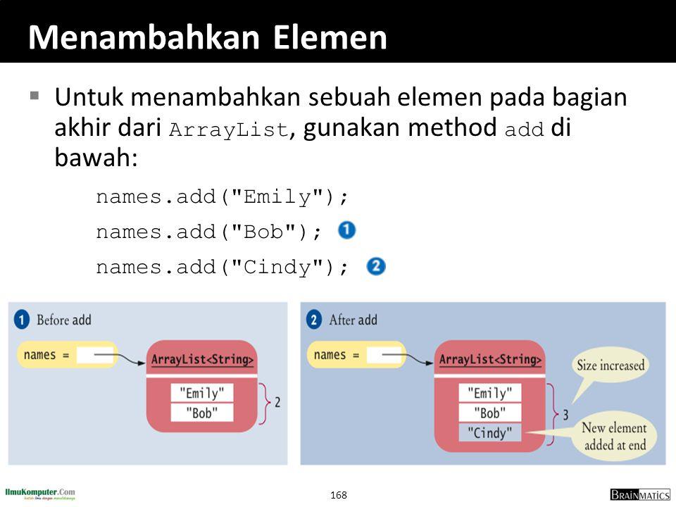 Menambahkan Elemen Untuk menambahkan sebuah elemen pada bagian akhir dari ArrayList, gunakan method add di bawah: