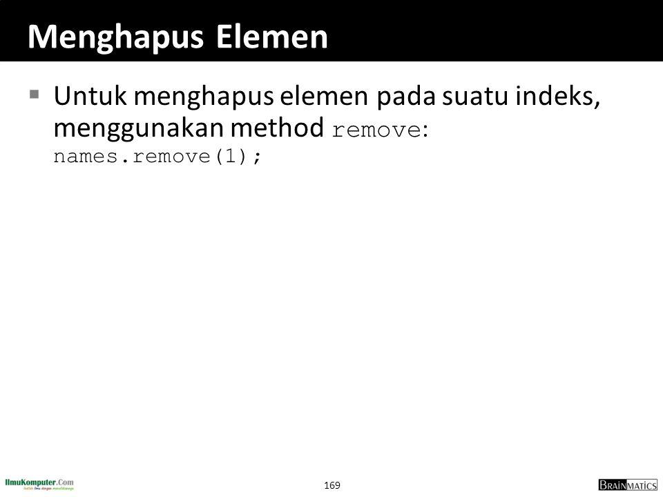 Menghapus Elemen Untuk menghapus elemen pada suatu indeks, menggunakan method remove: names.remove(1);