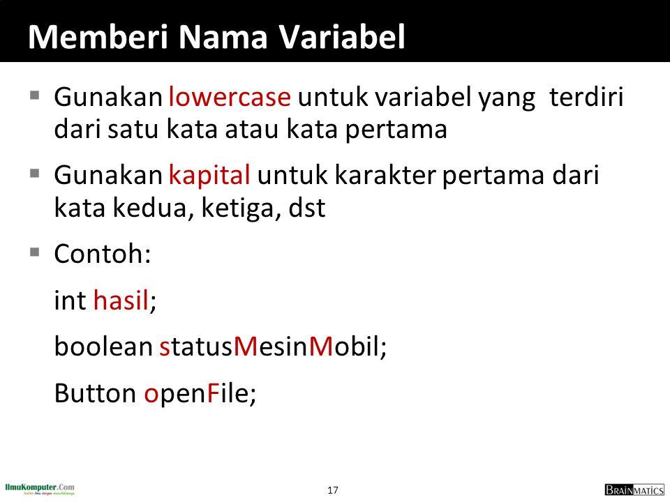 Memberi Nama Variabel Gunakan lowercase untuk variabel yang terdiri dari satu kata atau kata pertama.
