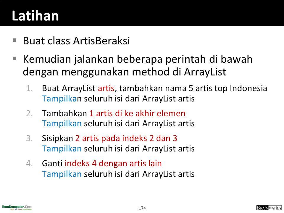 Latihan Buat class ArtisBeraksi