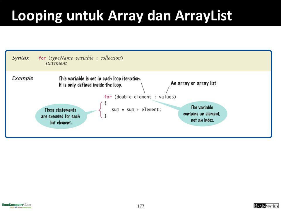 Looping untuk Array dan ArrayList