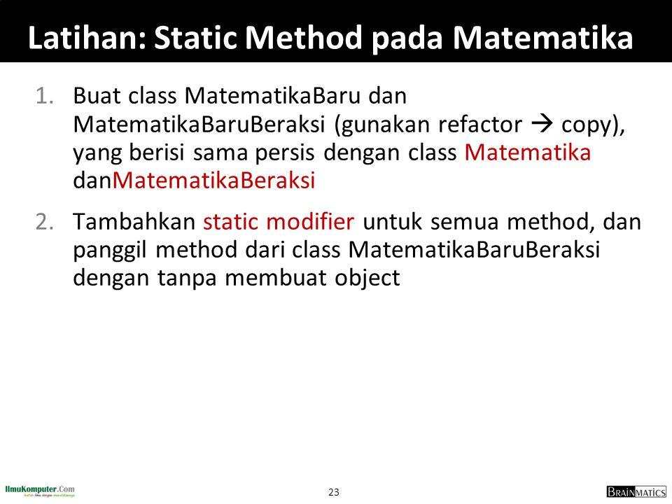 Latihan: Static Method pada Matematika