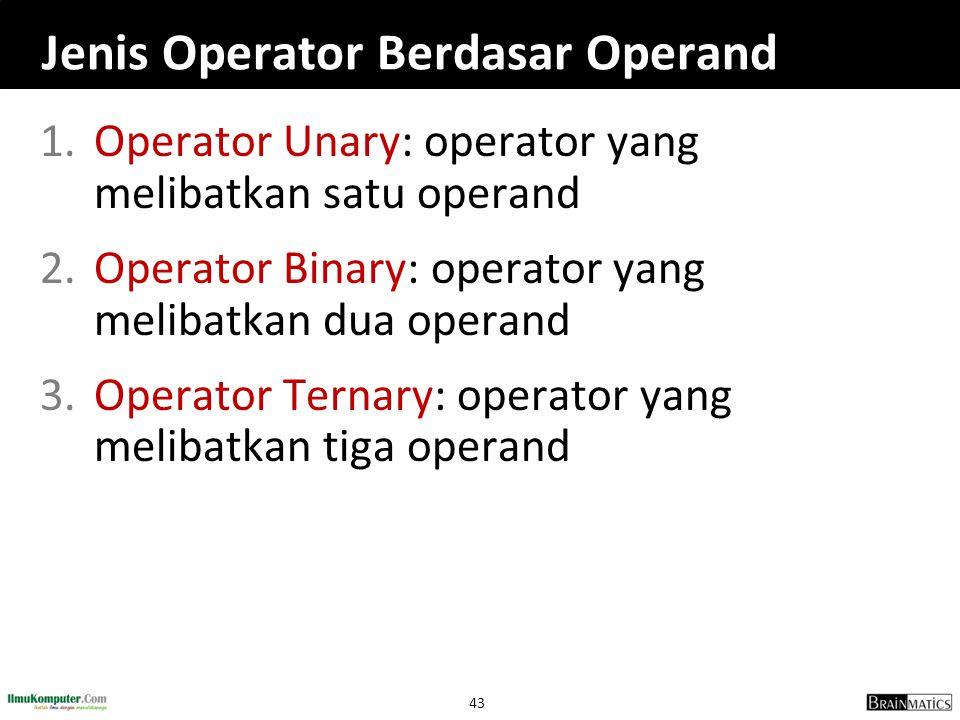 Jenis Operator Berdasar Operand