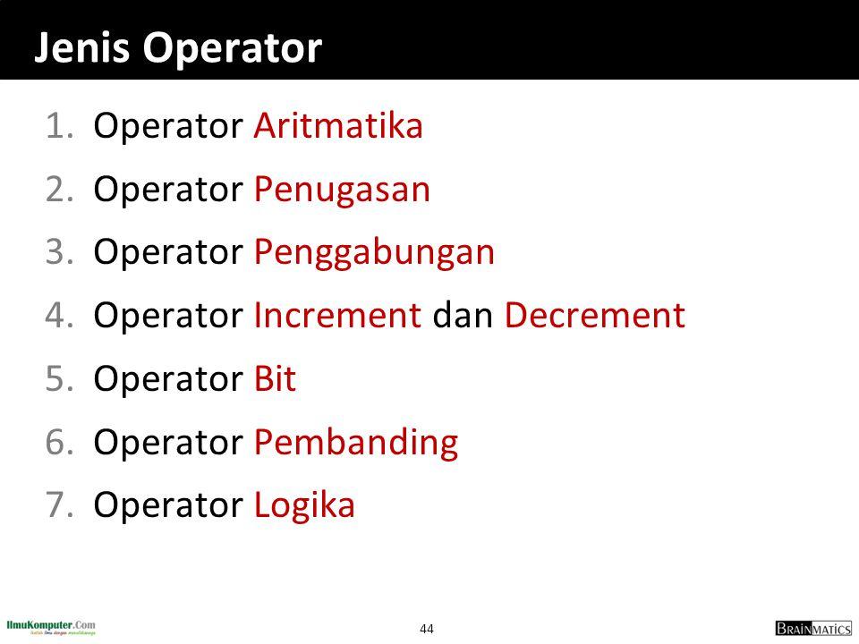 Jenis Operator Operator Aritmatika Operator Penugasan