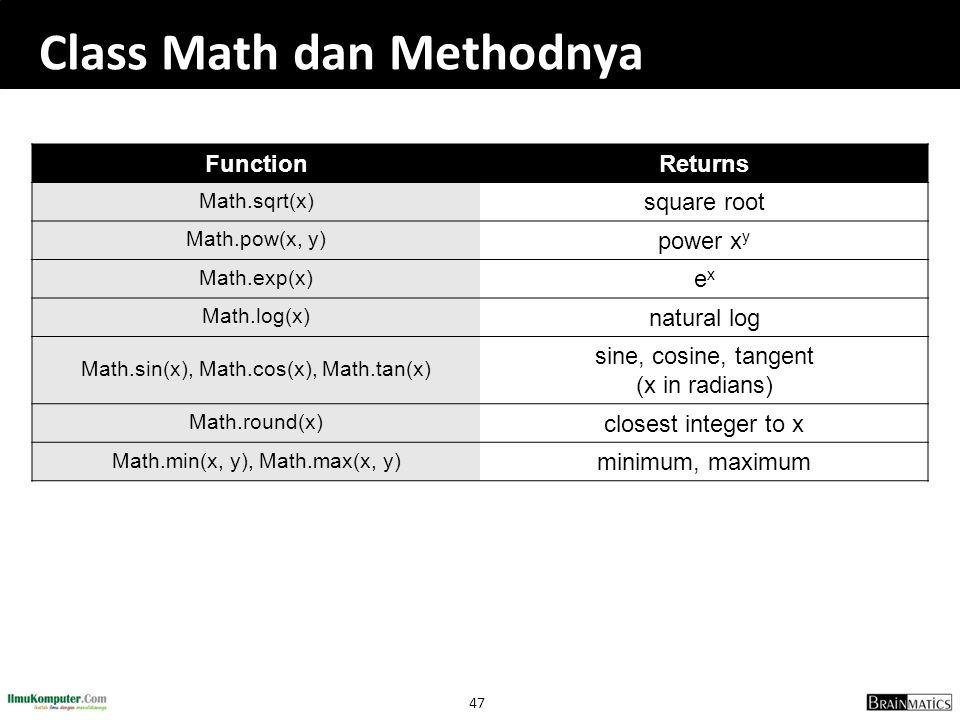 Class Math dan Methodnya
