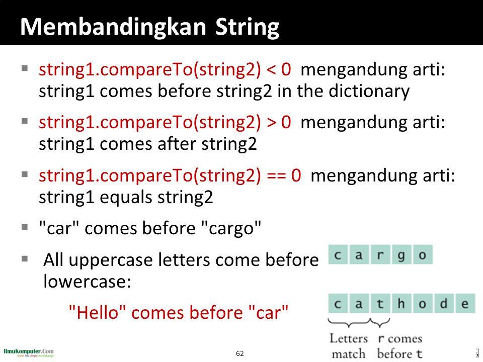 Membandingkan String string1.compareTo(string2) < 0 mengandung arti: string1 comes before string2 in the dictionary.