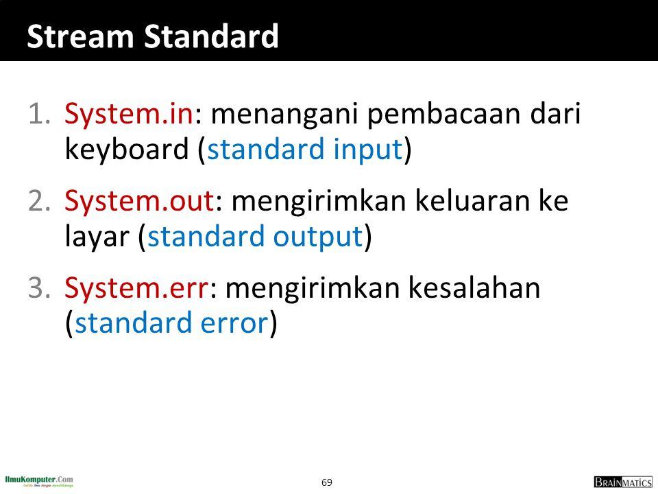 Stream Standard System.in: menangani pembacaan dari keyboard (standard input) System.out: mengirimkan keluaran ke layar (standard output)