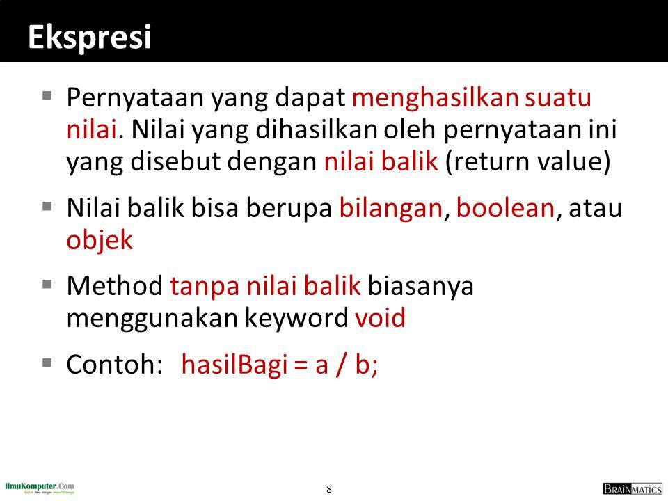 Ekspresi Pernyataan yang dapat menghasilkan suatu nilai. Nilai yang dihasilkan oleh pernyataan ini yang disebut dengan nilai balik (return value)
