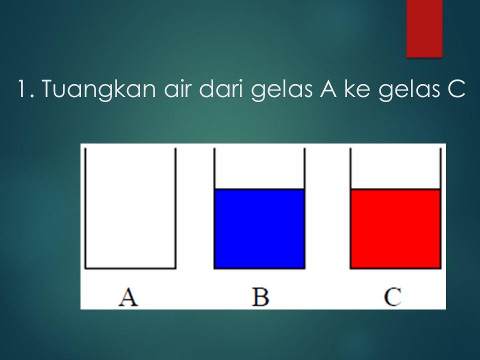 1. Tuangkan air dari gelas A ke gelas C