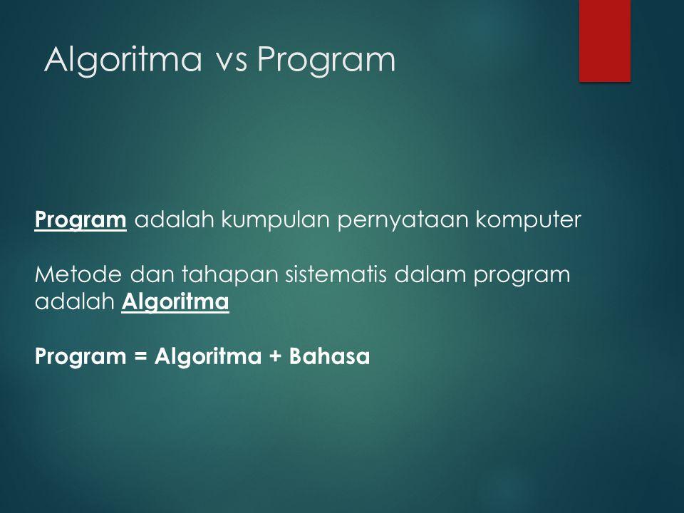 Algoritma vs Program Program adalah kumpulan pernyataan komputer