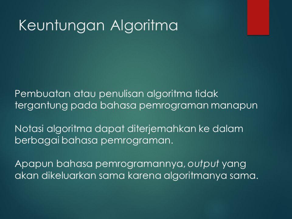 Keuntungan Algoritma Pembuatan atau penulisan algoritma tidak tergantung pada bahasa pemrograman manapun.