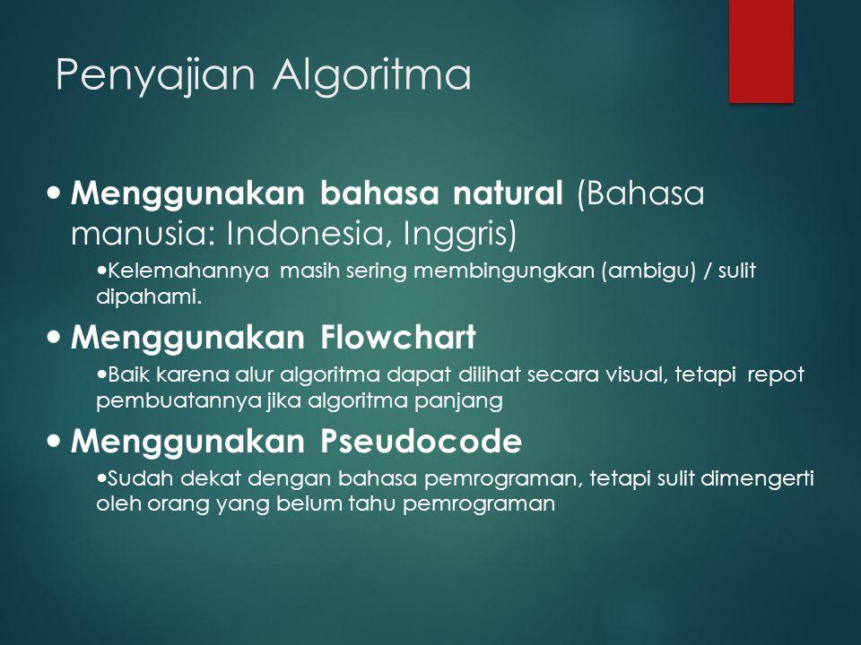 Penyajian Algoritma Menggunakan bahasa natural (Bahasa manusia: Indonesia, Inggris)