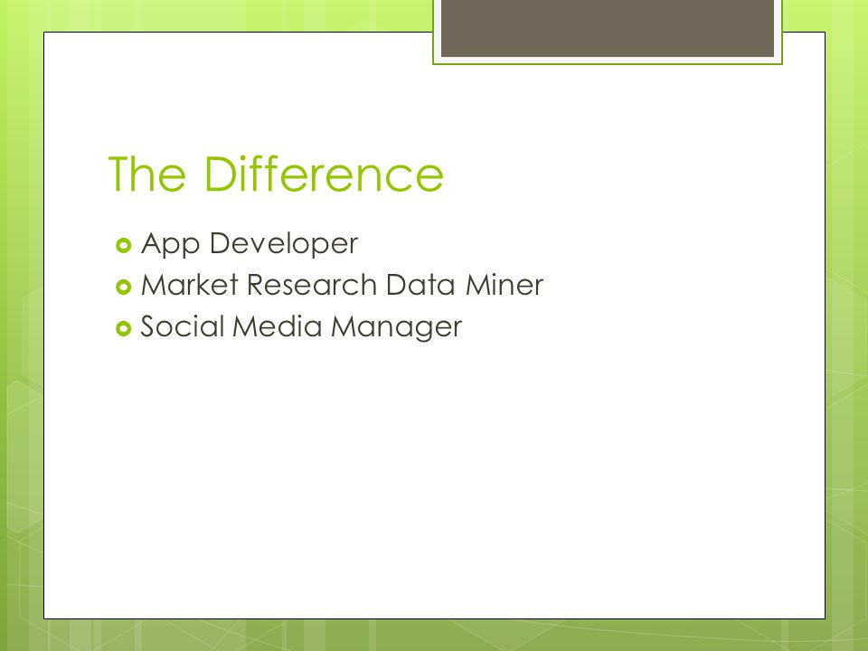 The Difference App Developer Market Research Data Miner