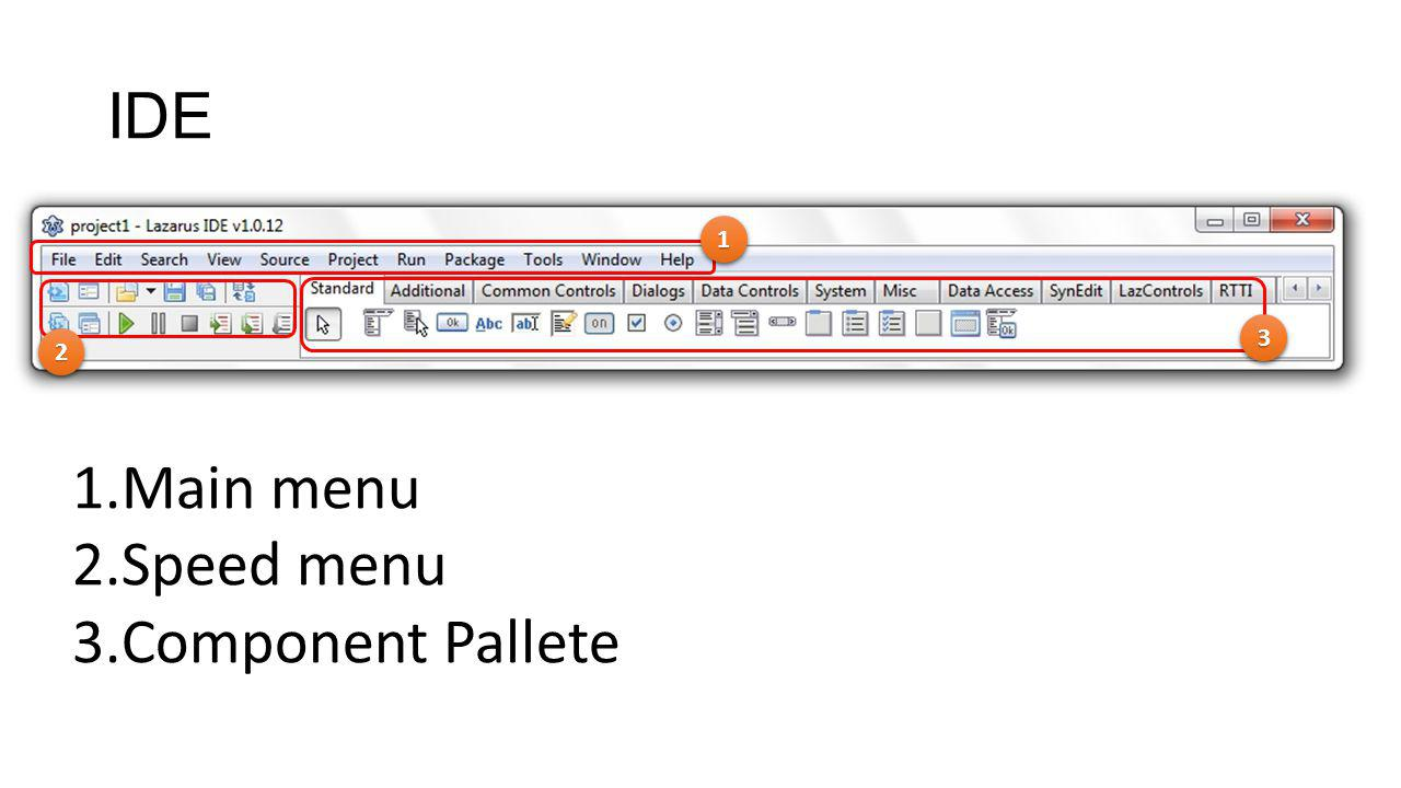 IDE 1 3 2 Main menu Speed menu Component Pallete