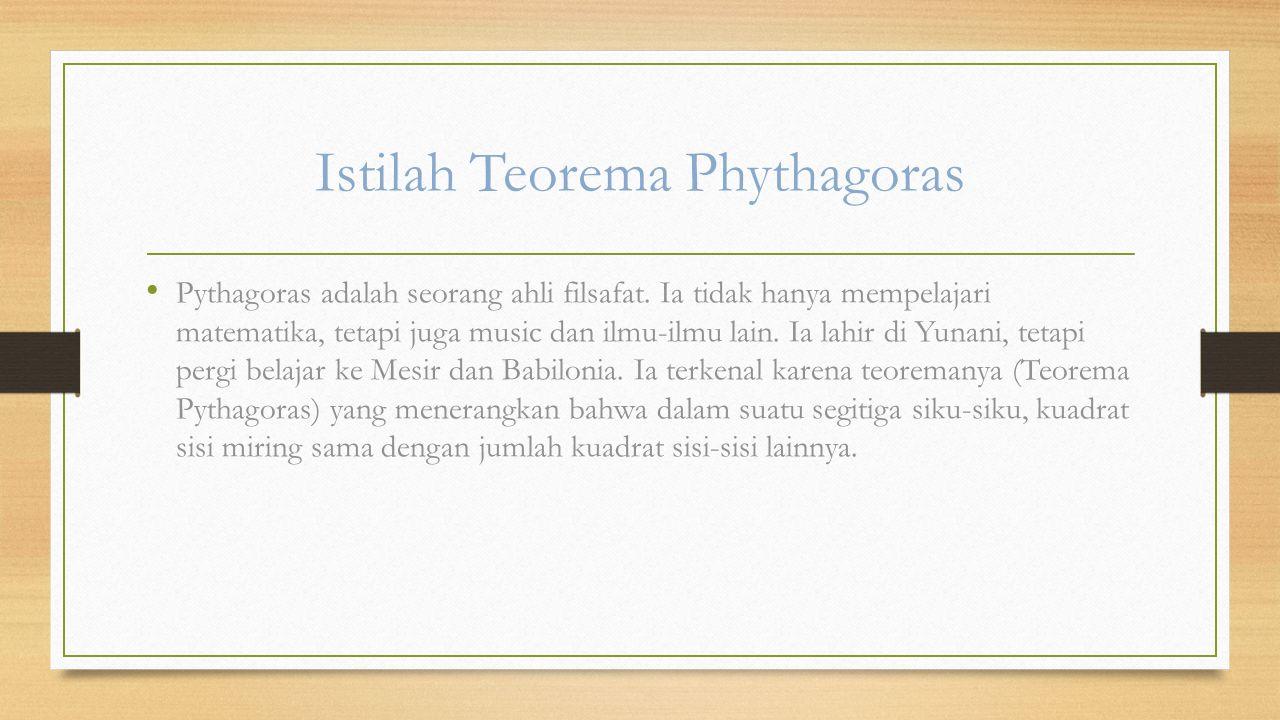 Istilah Teorema Phythagoras
