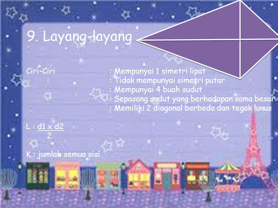 9. Layang-layang Ciri-Ciri : Mempunyai 1 simetri lipat
