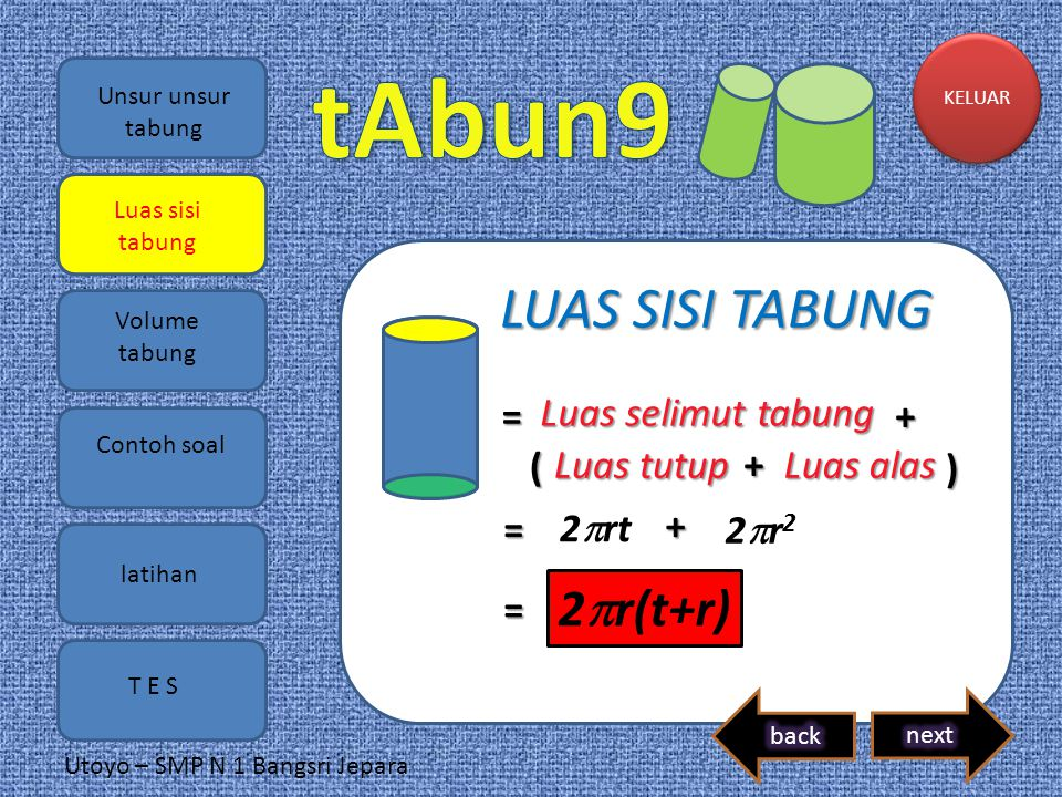 LUAS SISI TABUNG 2r(t+r) = Luas selimut tabung + ( Luas tutup +