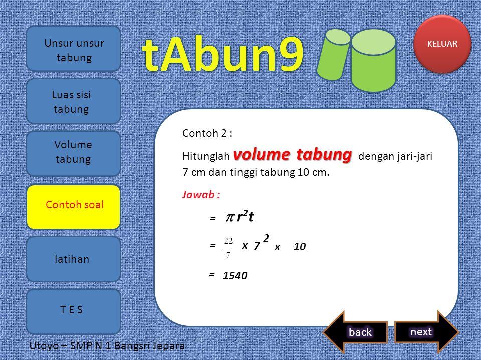  r2t Unsur unsur tabung Luas sisi tabung Contoh 2 : Volume tabung