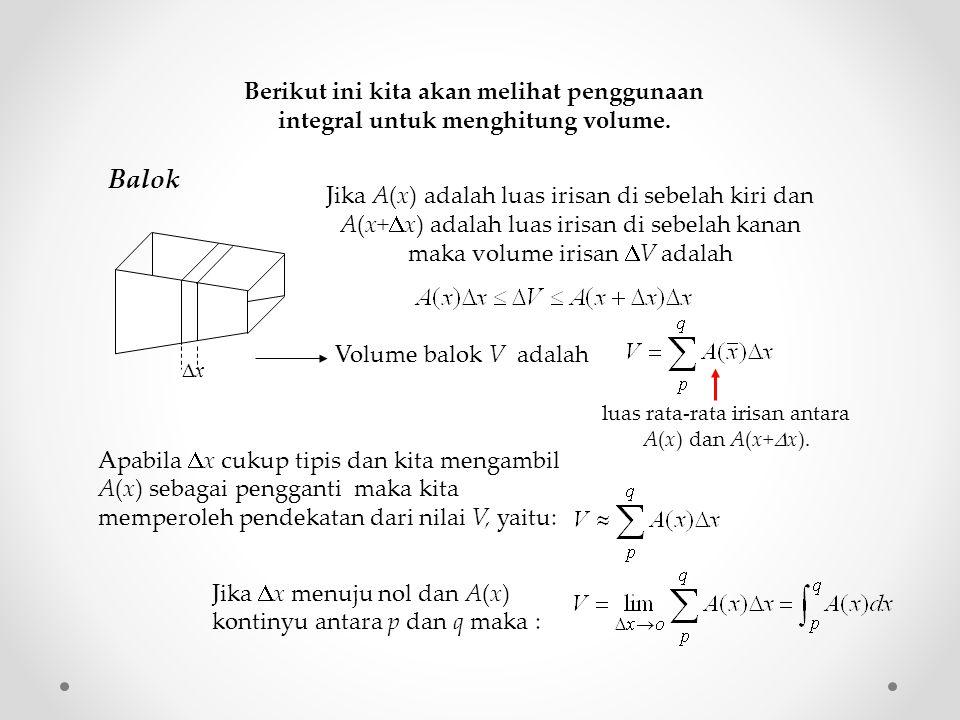 luas rata-rata irisan antara A(x) dan A(x+x).