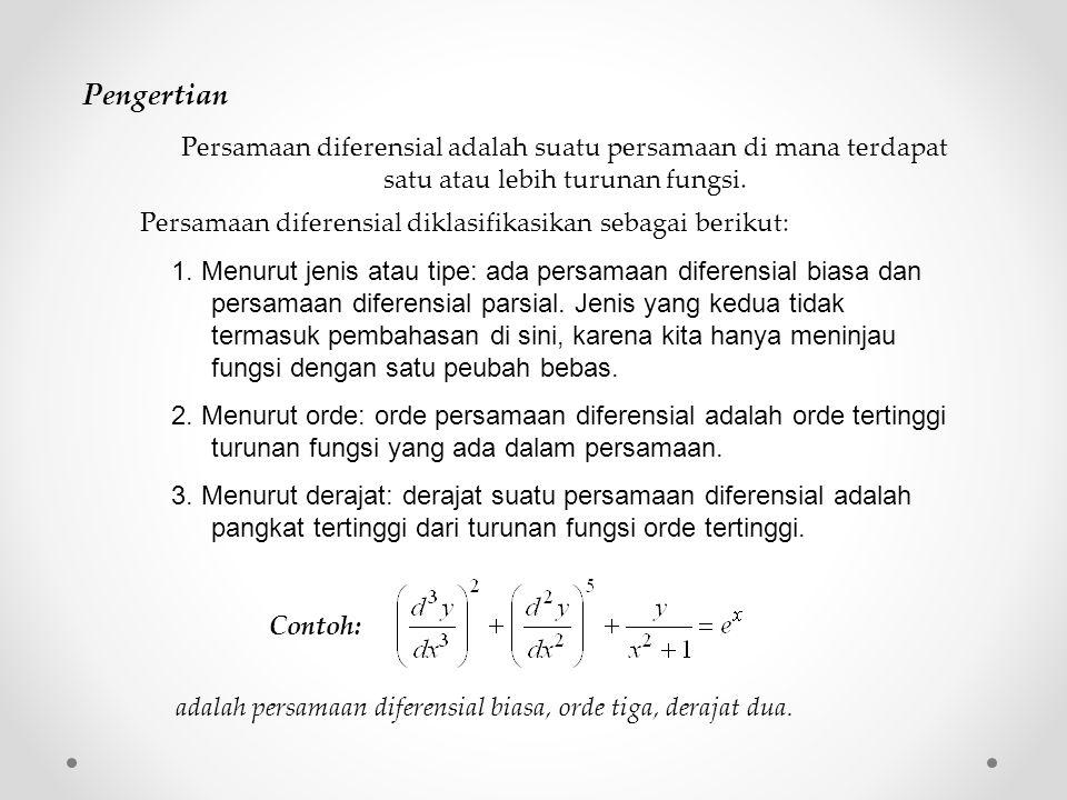 Pengertian Persamaan diferensial adalah suatu persamaan di mana terdapat satu atau lebih turunan fungsi.