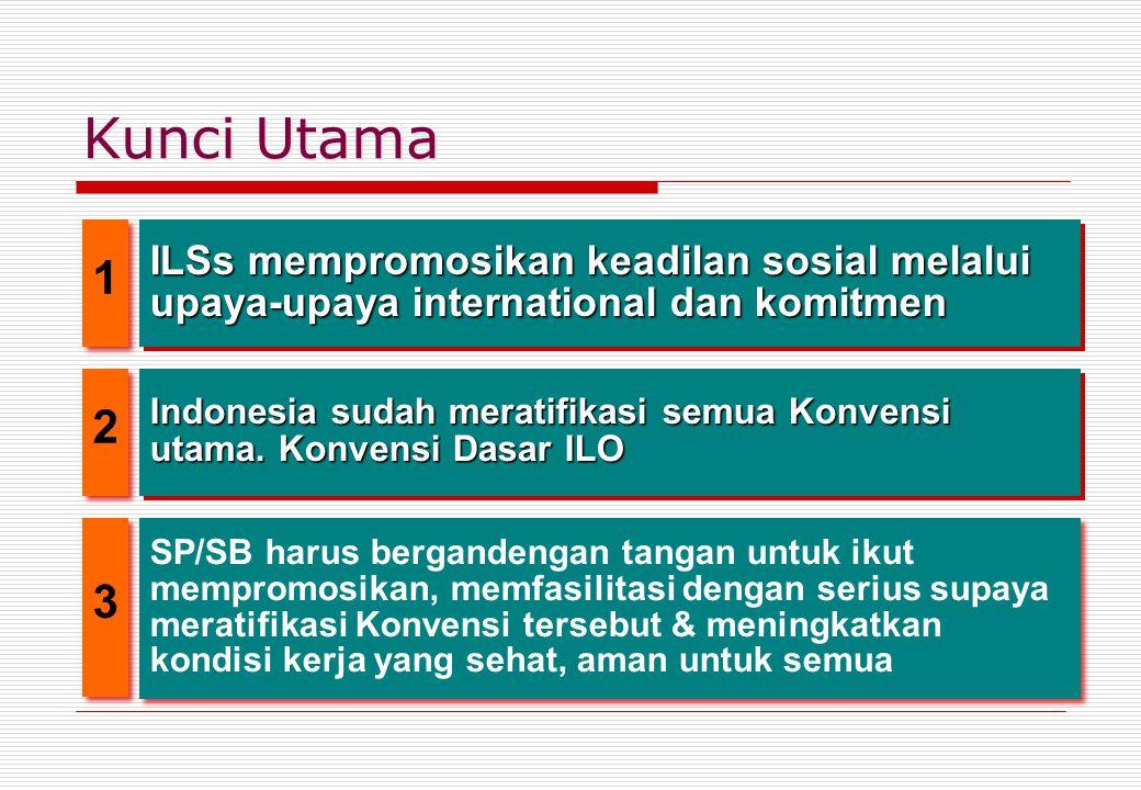 Kunci Utama 1. ILSs mempromosikan keadilan sosial melalui upaya-upaya international dan komitmen. 2.