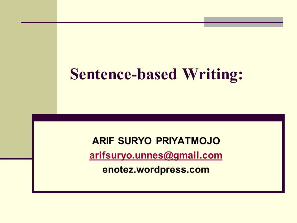 Sentence-based Writing: