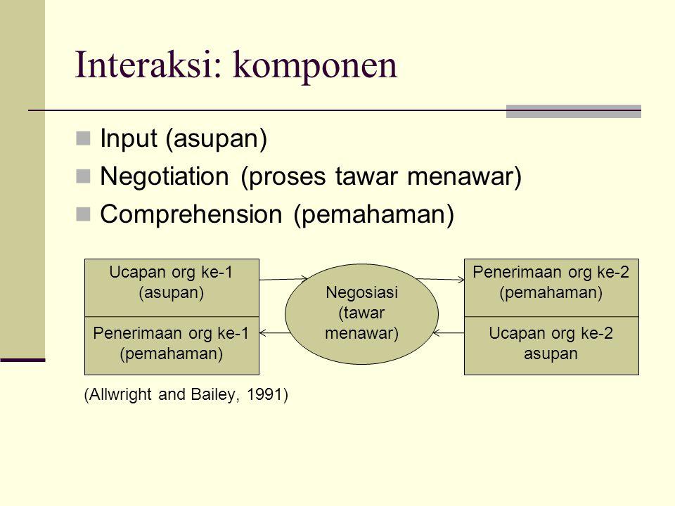 Interaksi: komponen Input (asupan) Negotiation (proses tawar menawar)