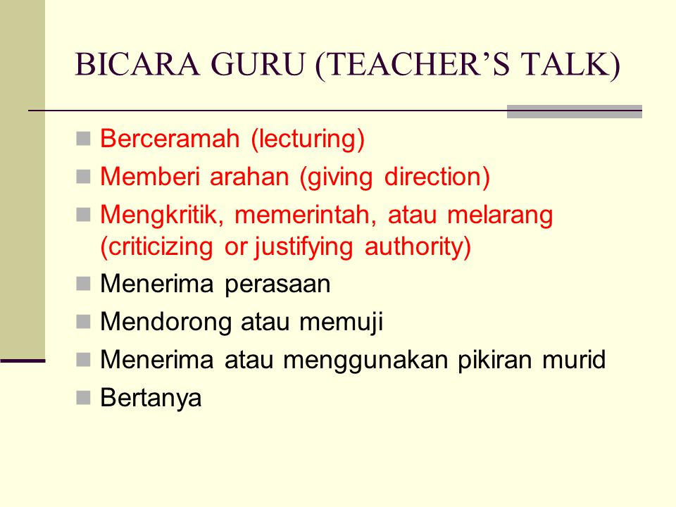 BICARA GURU (TEACHER'S TALK)