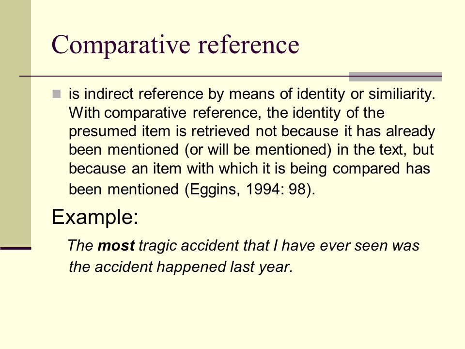 Comparative reference