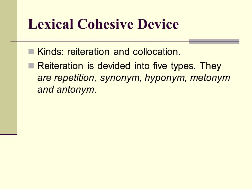Lexical Cohesive Device