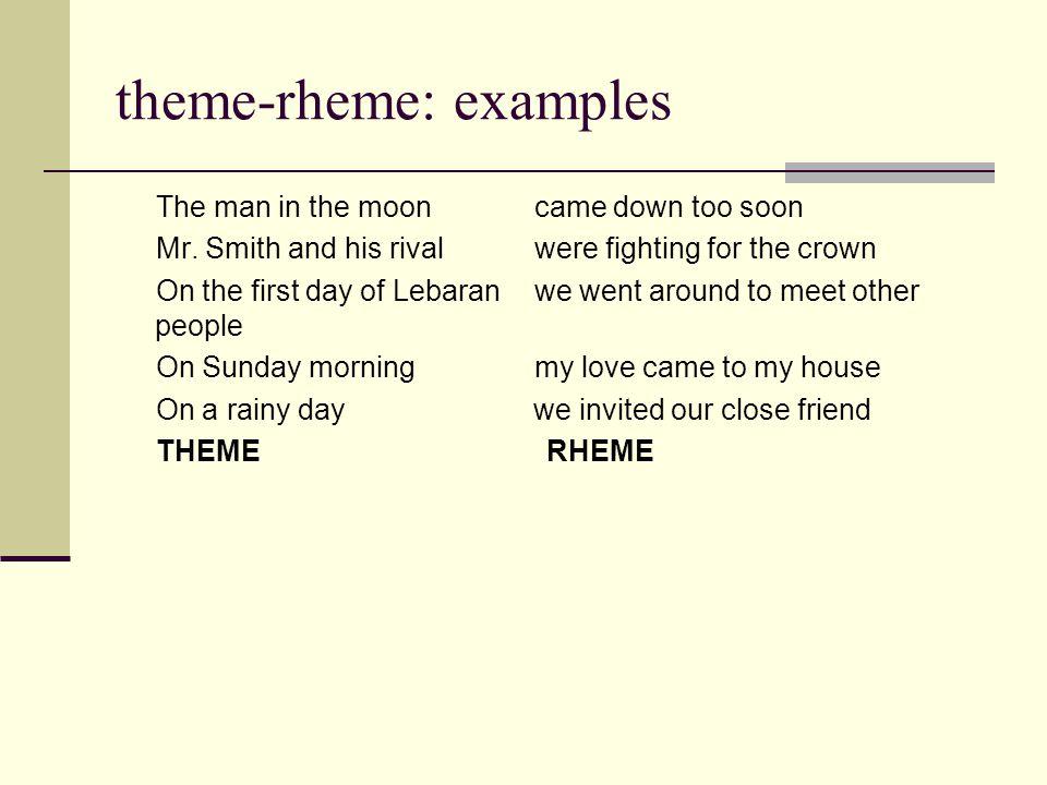 theme-rheme: examples