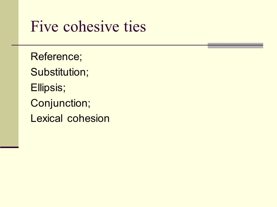 Five cohesive ties Reference; Substitution; Ellipsis; Conjunction; Lexical cohesion