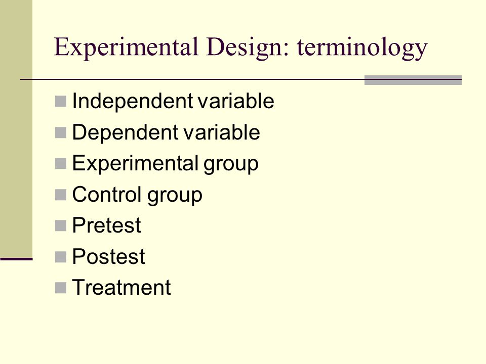 Experimental Design: terminology