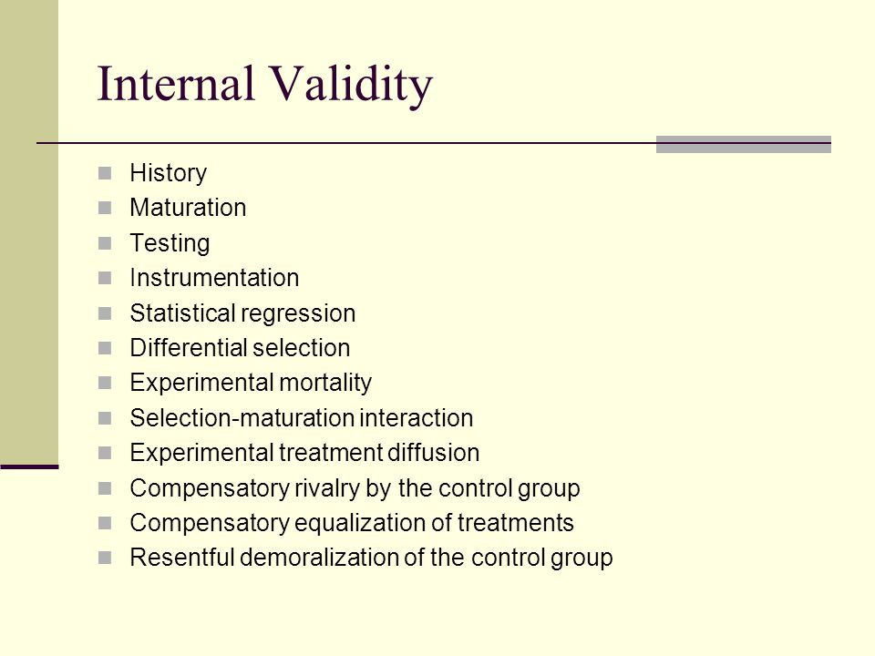 Internal Validity History Maturation Testing Instrumentation