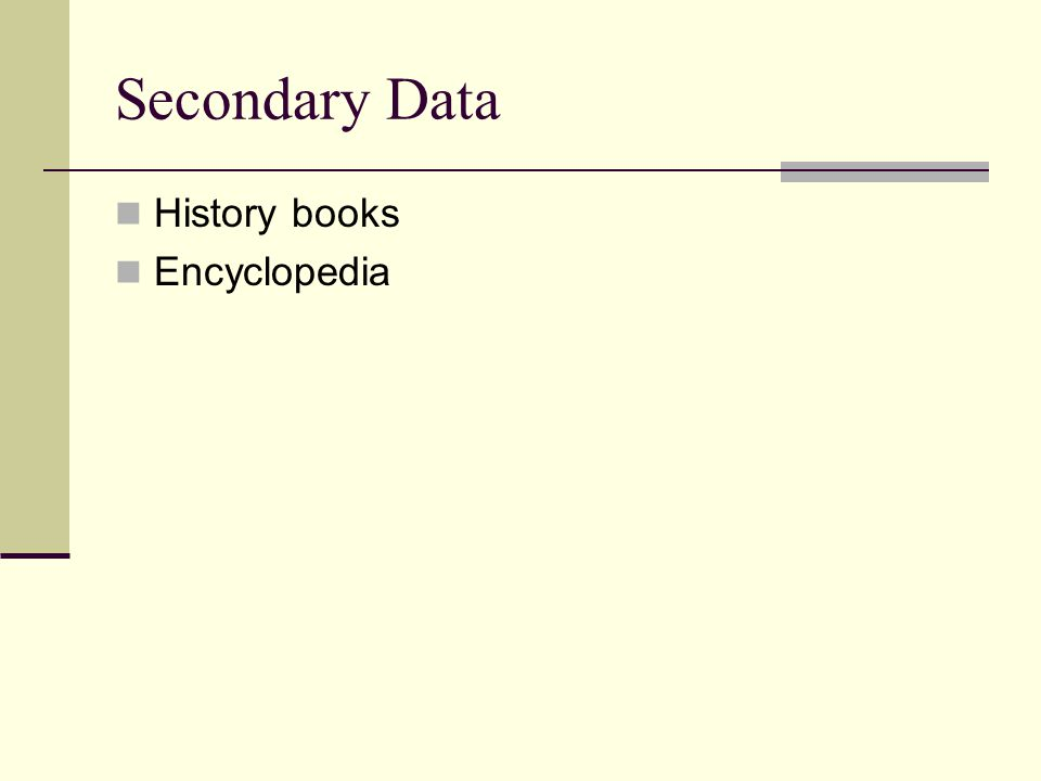 Secondary Data History books Encyclopedia