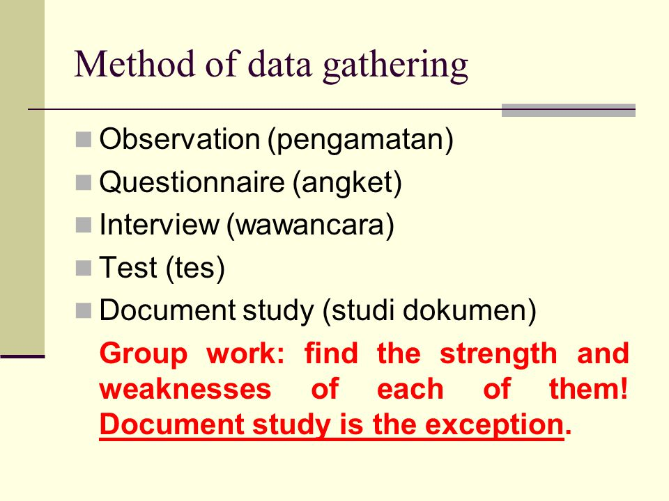 Method of data gathering