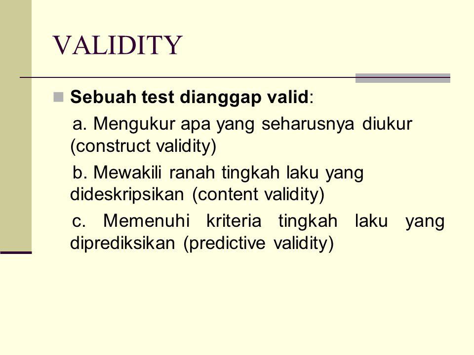 VALIDITY Sebuah test dianggap valid: