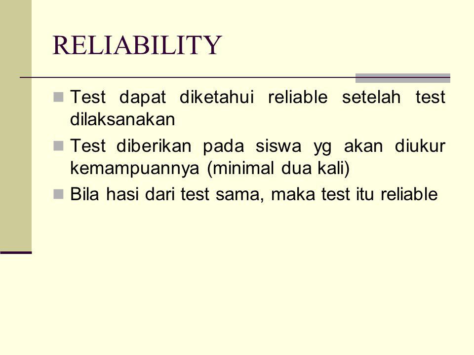 RELIABILITY Test dapat diketahui reliable setelah test dilaksanakan